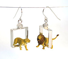 Lions in Squares Earrings by Kristin Lora (Silver Earrings)