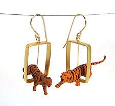 Tigers in Gold Rectangle Earrings by Kristin Lora (Gold & Silver Earrings)