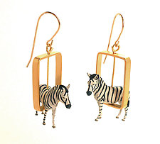 Zebras in Gold Rectangles by Kristin Lora (Gold Earrings)
