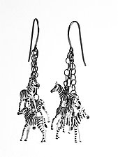 Baby Zebra Dangle Earrings by Kristin Lora (Silver Earrings)