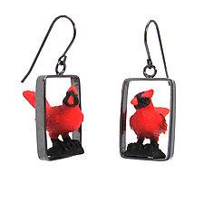 Cardinal Earrings by Kristin Lora (Silver Earrings)
