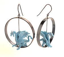 Blue Dragon Earrings by Kristin Lora (Silver Earrings)