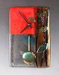 Red Bamboo Pendulum Clock by Nina  Cambron (Art Glass Clock)