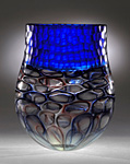Cobalt Murrini Battuto Vase by Chris McCarthy (Art Glass Vase)
