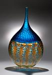 Aquamarine Battuto Murrini Vase by Chris McCarthy (Art Glass Vase)