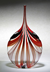 Red & Black Cane Bottle by Chris McCarthy (Art Glass Vessel)