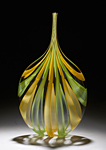 Green & Yellow Cane Bottle by Chris McCarthy (Art Glass Vessel)