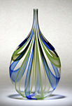 Cobalt & Green Cane Bottle by Chris McCarthy (Art Glass Vessel)