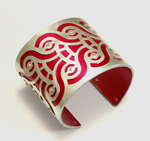 Large Blink Cuff - Flaming Red by Gogo Borgerding (Silver & Aluminum Cuff)