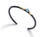 Flower Cuff Bracelet with Two Diamonds by Giselle Kolb (Gold, Silver & Stone Bracelet)