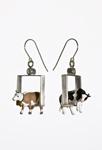 Cows in Squares Earrings by Kristin Lora (Metal Earrings)