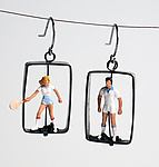 Tennis Players by Kristin Lora (Silver Earrings)