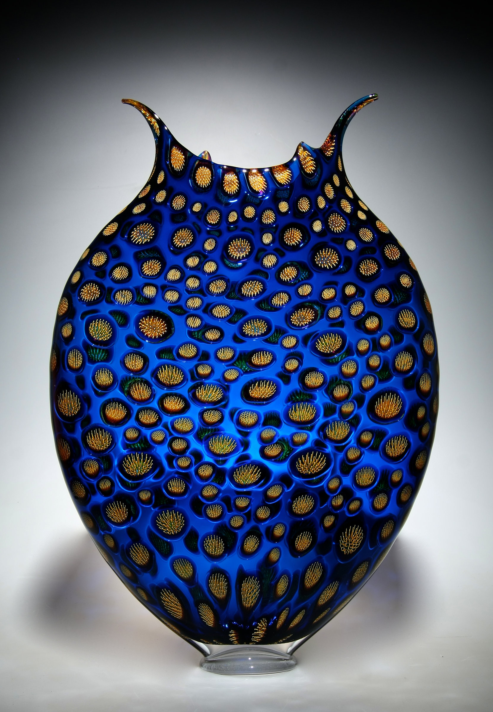 Cerulean Amp Gold Thread Foglio By David Patchen Art Glass