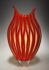 Cherry/Amber Cane Foglio by David Patchen (Art Glass Vessel)