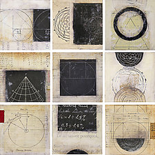Nine Scientific Tiles by Graceann Warn (Mixed-Media Wall Hanging)