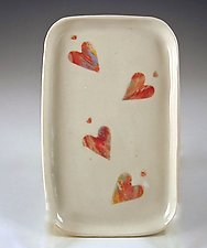 Dancing Hearts Tasting Tray by Carol Barclay (Ceramic Tray)