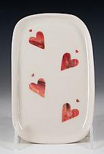 Dancing Hearts Tasting Tray by Carol Barclay (Ceramic Tray)