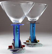 Blue Jazz Martni by George Ponzini (Art Glass Stemware)