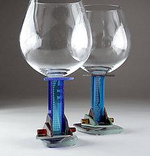 Blue Jazz Red Wine by George Ponzini (Art Glass Stemware)