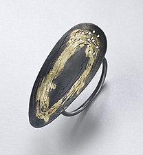 Long Scribble Ring by Peg Fetter (Gold & Silver Ring)