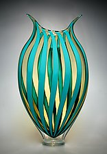 Turquoise & Amber Foglio by David Patchen (Art Glass Vessel)