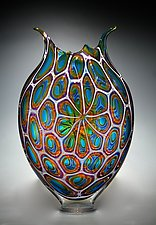 Aqua, Gold, and Hyacinth Foglio by David Patchen (Art Glass Vessel)