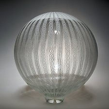 Zanfirico Cane Sphere by David Patchen (Art Glass Sculpture)