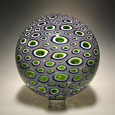 Amethyst, Lime, Aqua Sphere by David Patchen (Art Glass Sculpture)