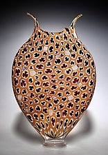 Deep Purple and Gold Thread Foglio by David Patchen (Art Glass Vessel)