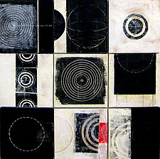 Black+White Tiles by Graceann Warn (Encaustic Painting)