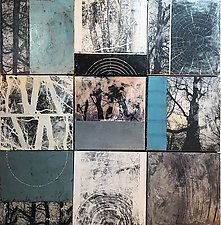 Tree Tiles by Graceann Warn (Mixed-Media Wall Hanging)