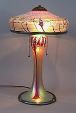 Large Gold Cherry Blossom Lamp by Carl Radke (Art Glass Table Lamp)