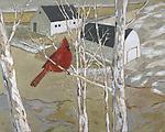Cardinal and Barns by Robert Ferrucci (Giclee Print)