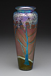 Large Ruby Wisteria Vase by Carl Radke (Art Glass Vase)