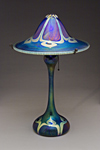 Large Flared Blue Peacock Lamp by Carl Radke (Art Glass Lamp)