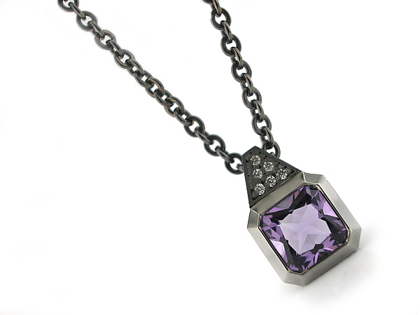 Small Oblique Pendant in Blackened Silver with Amethyst and Diamond