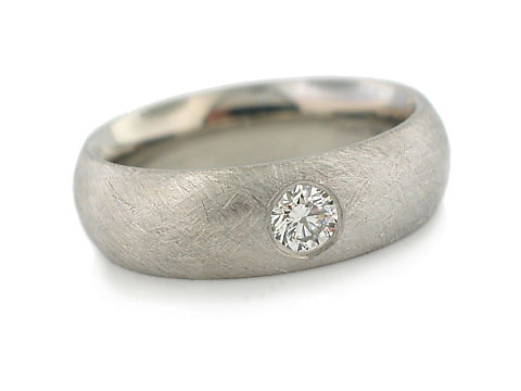 Domed Band in Palladium & Diamonds