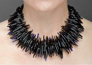 Full Collar Feathered Necklace: Marna Clark: Glass & Silver Necklace - Artful Home from artfulhome.com