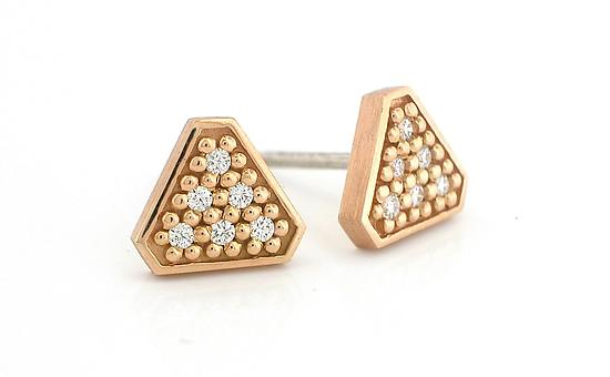 Tri  Stud Earring in 14K Rose Gold