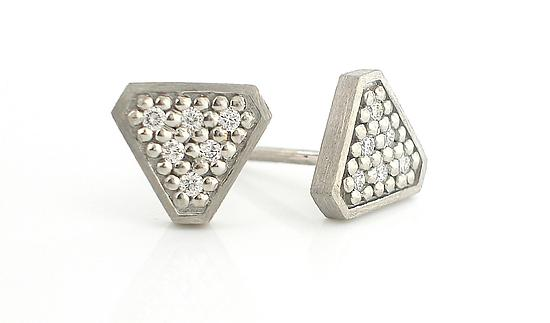 """Tri"" Stud Earrings in Palladium"