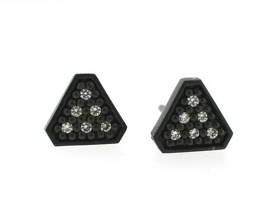 Tri Stud Earring in Blackened Silver with Diamonds