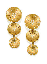 Triple Flower Earring in 18K and Diamond by Catherine Iskiw (Gold & Stone Earrings)