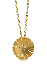 Flower Pendant in 18K and Diamond by Catherine Iskiw (Gold & Stone Necklace)