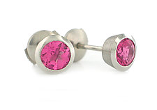 Series 16 Studs in Platinum with Rubellites by Catherine Iskiw (Platinum & Stone Earrings)