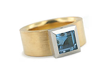 Series 23 Ring in 18k, Plat. with Aquamarine by Catherine Iskiw (Platinum, Gold, & Stone Ring)