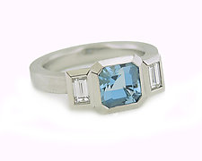 Oblique Three-Stone Ring in Platinum, Aquamarine and Diamonds by Catherine Iskiw (Platinum & Stone Ring)