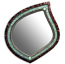 Green Tea Leaf Mirror by Angie Heinrich (Mosaic Mirror)