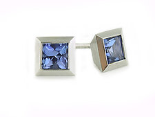 S17 Studs in Platinum with Tanzanites by Catherine Iskiw (Platinum & Stone Earrings)
