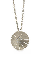 Flower Pendant in 18k White and Diamond by Catherine Iskiw (Gold & Stone Necklace)