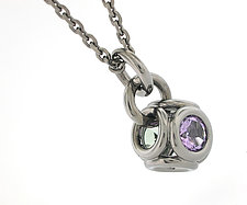 Torus Pendant 1 in Blackened Silver with Lavender and Green Amethyst by Catherine Iskiw (Silver & Stone Necklace)
